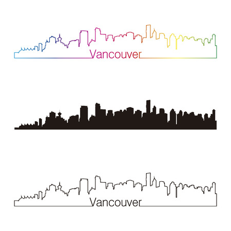 vancouver city: Vancouver skyline linear style with rainbow in editable vector file Illustration