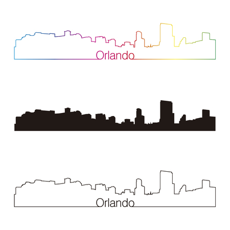 Orlando skyline linear style with rainbow in editable vector file Vector