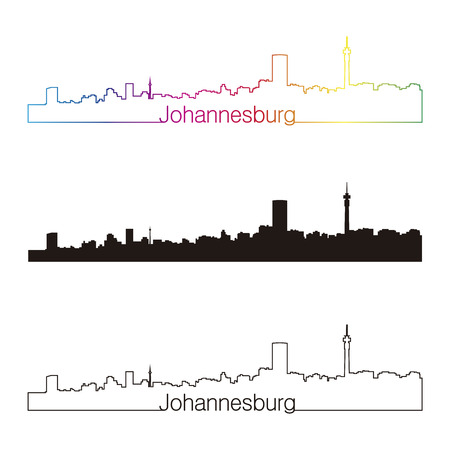 johannesburg: Johannesburg skyline linear style with rainbow in editable vector file Illustration
