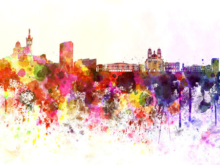 Marseilles skyline in watercolor background photo