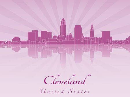 radiant: Cleveland skyline in purple radiant orchid in editable vector file