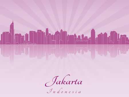 Jakarta skyline in purple radiant orchid in editable vector file