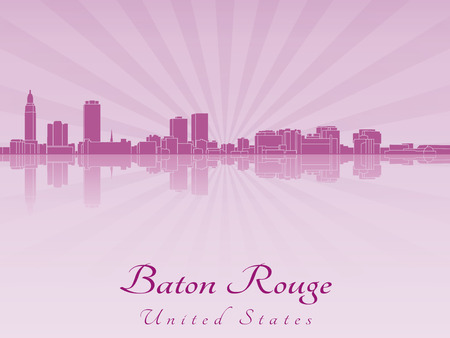 baton rouge: Baton Rouge skyline in purple radiant orchid in editable vector file