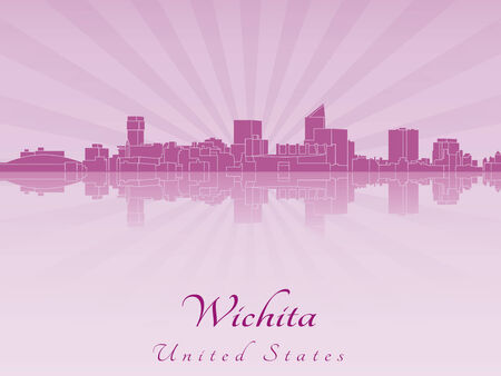 Wichita skyline in purple radiant orchid in editable vector file Vector