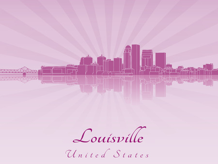 Louisville skyline in purple radiant orchid in editable vector file Vector