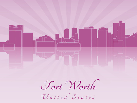 Fort Worth skyline in purple radiant orchid in editable vector file Vector