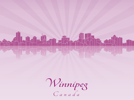 winnipeg: Winnipeg skyline in purple radiant orchid in editable vector file
