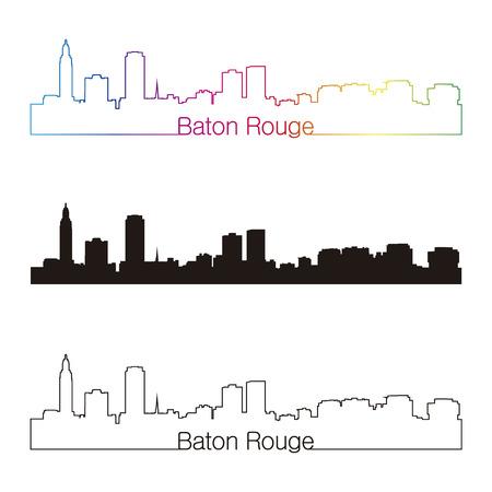 estafette stokje: Baton Rouge skyline lineaire stijl met een regenboog in bewerkbare vector-bestand