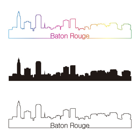 baton rouge: Baton Rouge skyline linear style with rainbow in editable vector file