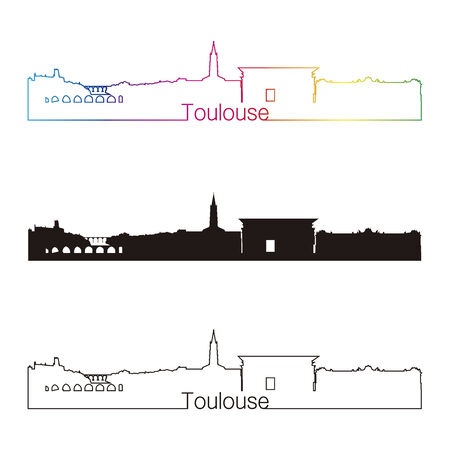 toulouse: Toulouse skyline linear style with rainbow in editable vector file