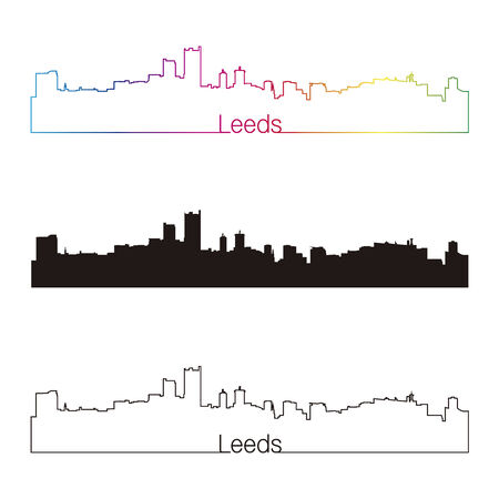 leeds: Leeds skyline linear style with rainbow in editable vector file