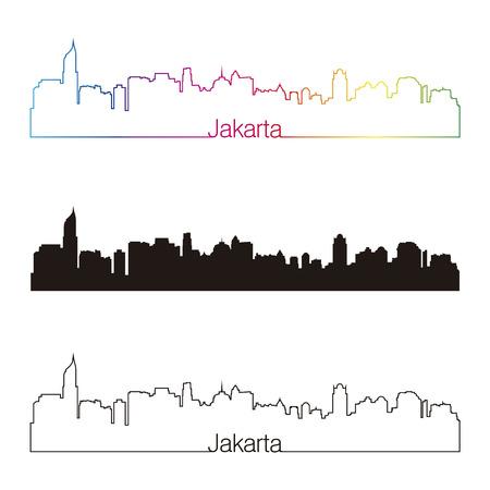 jakarta: Jakarta skyline linear style with rainbow in editable vector file Illustration