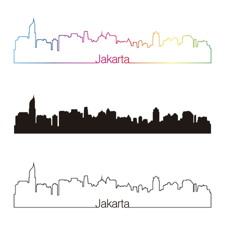 Jakarta skyline linear style with rainbow in editable vector file Illustration