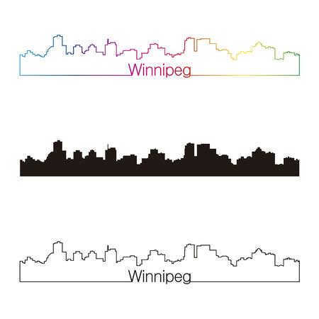 winnipeg: Winnipeg skyline linear style with rainbow in editable vector file