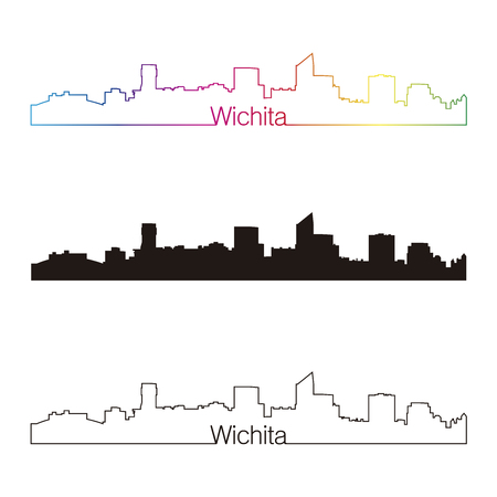 Wichita skyline linear style with rainbow in editable vector file