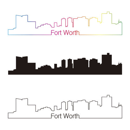 Fort Worth skyline linear style with rainbow in editable vector file Vector