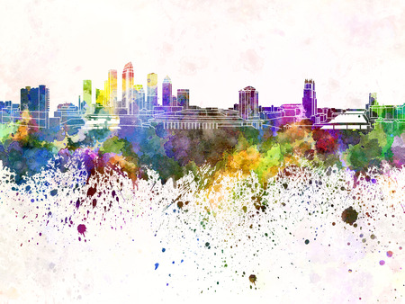 florida: Tampa skyline in watercolor background