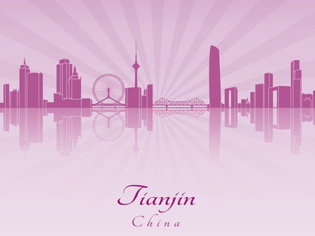 radiant: Tianjin skyline in purple radiant orchid in editable vector file