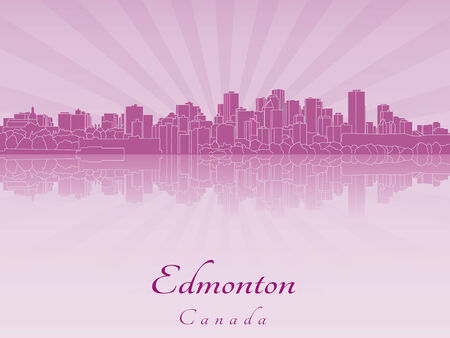Edmonton skyline in purple radiant orchid in editable vector file Illustration