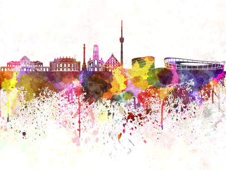 stuttgart: Stuttgart skyline in watercolor background