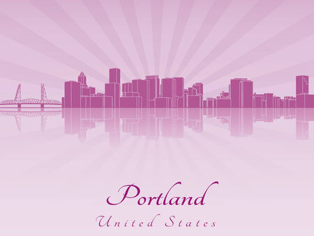 portland: Portland skyline in purple radiant orchid in editable vector file Illustration