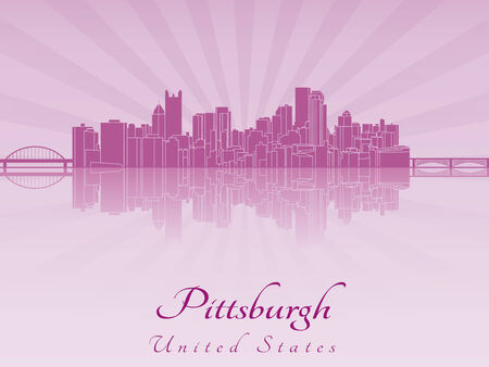 Pittsburgh skyline in purple radiant orchid in editable vector file Vector