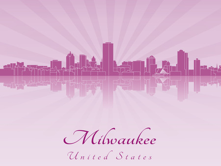 Milwaukee skyline in purple radiant orchid in editable vector file Vector