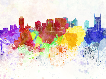 Nashville skyline in watercolor background photo