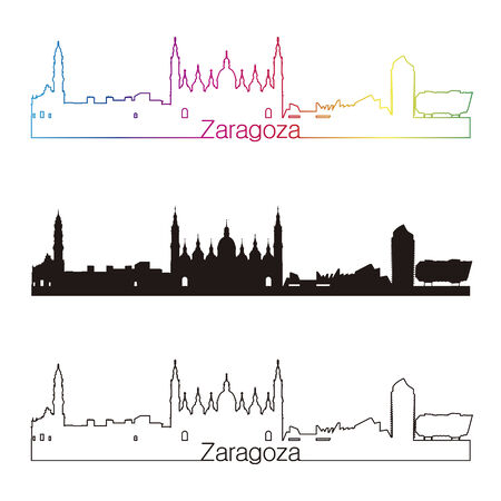 zaragoza: Zaragoza skyline linear style with rainbow in editable vector file Illustration