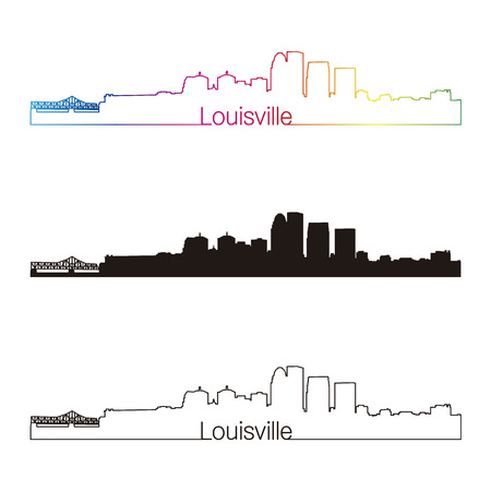 Louisville skyline linear style with rainbow in editable vector file Vector
