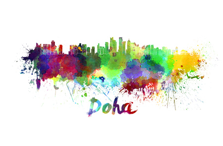 doha: Doha skyline in watercolor splatters with clipping path