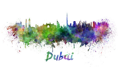 dubai: Dubai skyline in watercolor splatters with clipping path Stock Photo