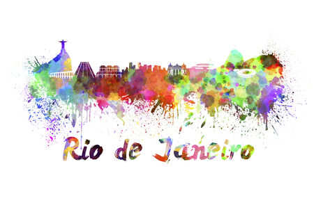 Rio de Janeiro skyline in watercolor splatters with clipping path photo