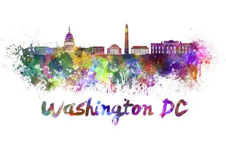 클리핑 패스와 함께 수채화 뿌려 놓은 워싱턴 DC 스카이 라인 스톡 콘텐츠 - 27746886