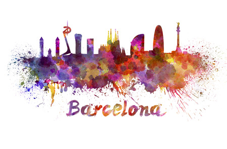 클리핑 패스와 함께 수채화 뿌려 놓은 바르셀로나의 스카이 라인 스톡 콘텐츠