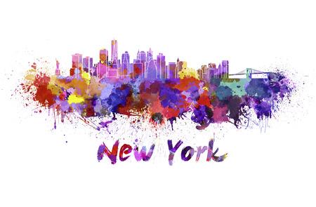 splatter: Horizonte de Nueva York en las salpicaduras de acuarela con trazado de recorte Foto de archivo