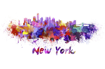 New York skyline in watercolor splatters with clipping path Stock Photo
