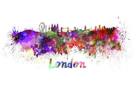 ロンドンのスカイライン クリッピング パスと水彩飛び散っ