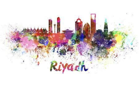 arabia: Riyadh skyline in watercolor splatters