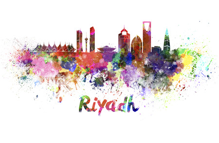 saudi arabia: Riyadh skyline in watercolor splatters