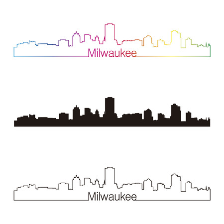 Milwaukee skyline linear style with rainbow in editable vector file Vector