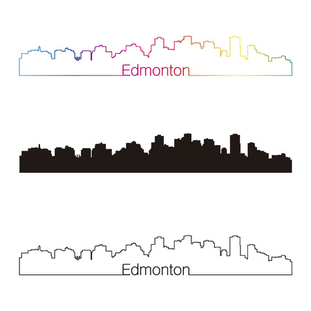 Edmonton skyline linear style with rainbow in editable vector file