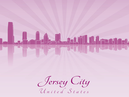jersey city: Jersey City skyline in purple radiant orchid in editable vector file Illustration