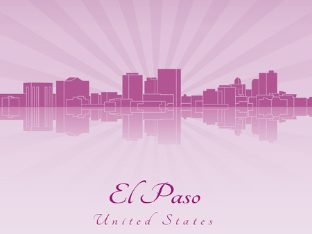 El Paso skyline in purple radiant orchid in editable vector file Vector