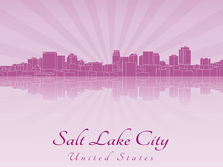 Salt Lake City skyline in purple radiant orchid in editable vector file Vector