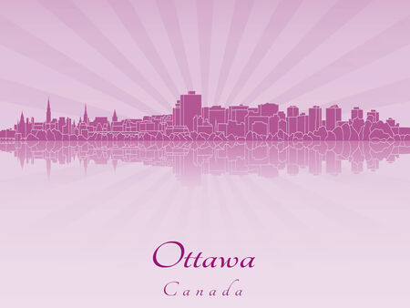 Ottawa skyline in purple radiant orchid in editable vector file Vector