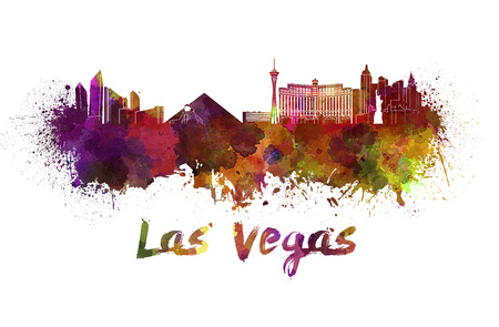 Las Vegas skyline in watercolor splatters with clipping path