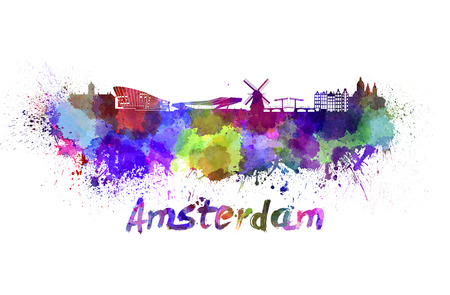 clipping  path: Amsterdam skyline in watercolor splatters with clipping path Stock Photo