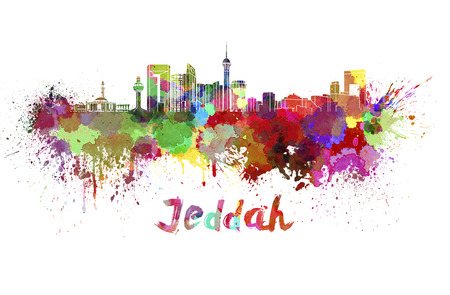 Jeddah skyline in watercolor splatters with clipping path photo