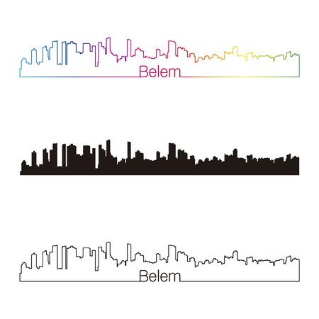 belem: Belem skyline linear style with rainbow in editable vector file Illustration